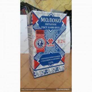 Оптом молоко Тяжин 3.2% ультрапастерезованное