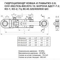 Гидроцилиндры на КУН (ПКУ 0.8), СНУ-550, КУН-10