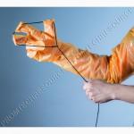 Перчатки акушерские с петлёй, для родовспоможения свиноматок